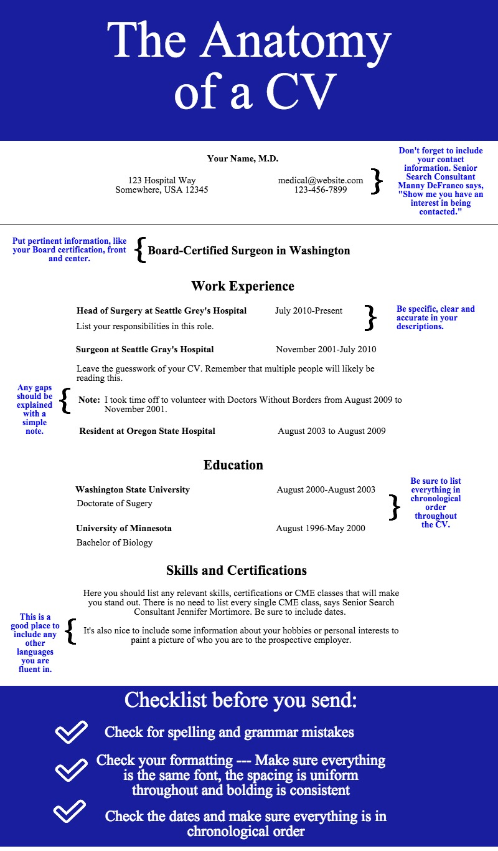 the anatomy of a cv enterprise medical recruiting anatomy of a cv